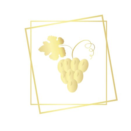 Bunch of grapes in the frame. Vector illustration golden gradient isolated on white background.