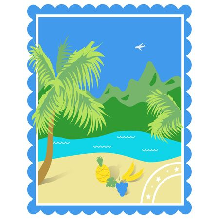Tourism Tropics. Color illustration with a view of the sea, the beach, fruits, mountains, made in the form of the postcard. Isolated vector on white background.