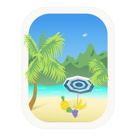 Travel, Tourism. Tropics.Color illustration of seascape with palm trees, fruit, umbrella. Isolated vector on white background. Ilustrace