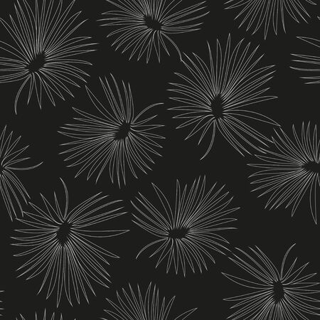Vector monochrome seamless pattern with elegant gray palm leaves on black background.