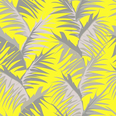 Vertical vector pattern of tropical palm leaves on yellow background. Ilustracja