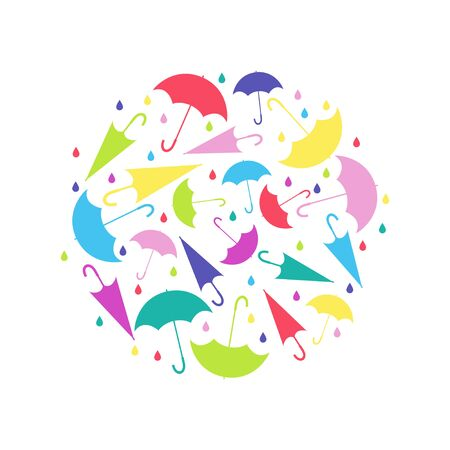Pattern in circle from umbrellas in different positions, with raindrops on white background. Colored vector illustration for design.
