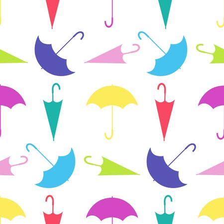 Seamless pattern from umbrellas in different positions on white background. Colored vector illustration.