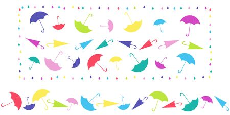 Set. Pattern in frame and horizontal pattern from umbrellas in different positions, with raindrops on white background. Colored vector illustration for design. 向量圖像
