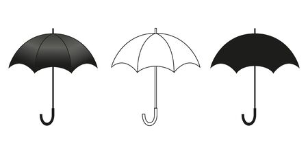 Classic umbrella in three versions for design. Isolated black blvector illustration on white background.