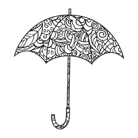 Umbrella Coloring page. Isolated black and white vector illustration on white background.