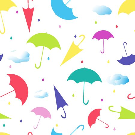 Seamless pattern from umbrellas in different positions, with raindrops and clouds on white background. Colored vector illustration.