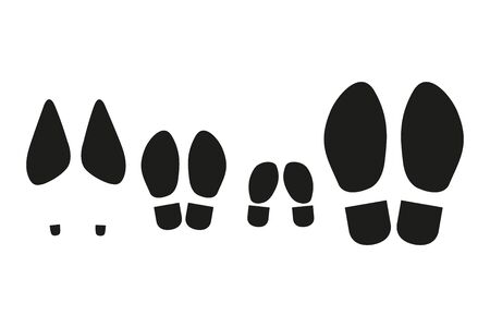 Prints of the soles of a family of four. Set of black icons Isolated on white background.