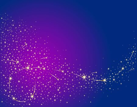 Festive background with golden stars on a background of the night sky. Vector color illustration.