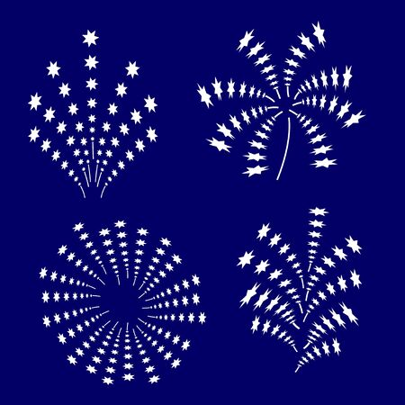 A set of fireworks. Vector isolated on blue background.