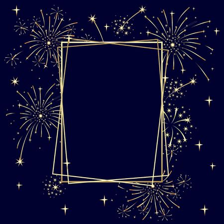 Holiday card template with golden frames and fireworks. Vector isolated color illustration.