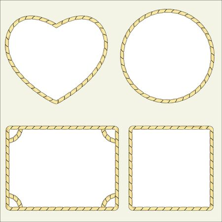 A set of four types of frames from a nautical rope, cord. Isolated vector illustration free for text.