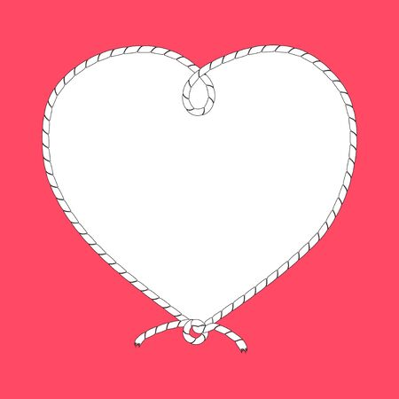 Frame in the shape of a heart from a ship's rope, cord with a knot. Vector isolated illustration on pink background.