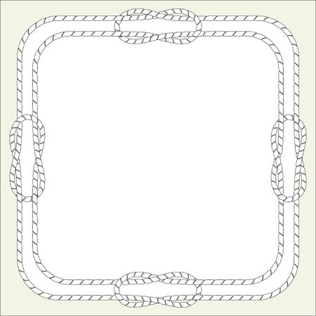 The square frame of the ship's cord, cable, with marine knots. Vector isolated illustration, free for text.
