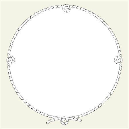 Round frame from ship cord, cable, with knots. Vector isolated illustration, free for text.