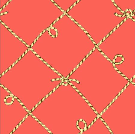 Drawing in the form of a grid from the tied golden cords. Seamless color vector.
