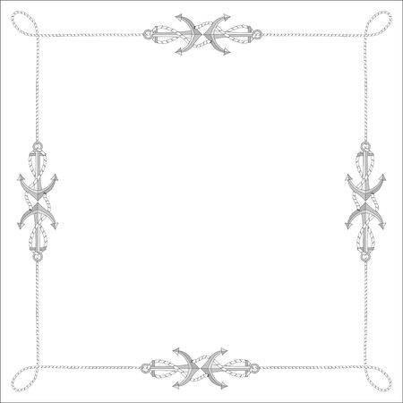 The square isolated frame from a rope, a cord with anchors. Vector illustration isolated, free for text.