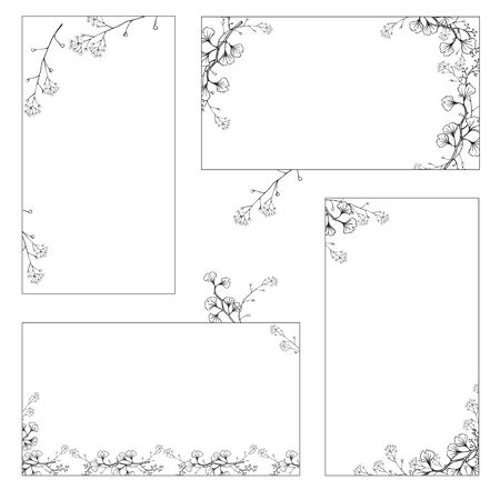 A set of stickers, business cards with hand drawings of black and white Ginkgo branches with leaves. Vector isolated illustration on white background.
