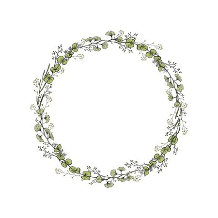 A wreath of Ginkgo branches, eucalyptus. Color vector illustration isolated on white background. Hand drawing.