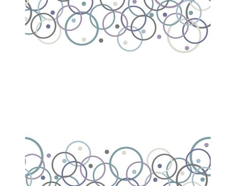 Set of two horizontal geometric ornaments. Seamless Vector pattern from multicolored circles on white background.Free for text.