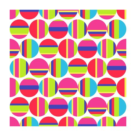 Seamless pattern of multicolored striped circles. Vector illustration geometric shapes on white background.