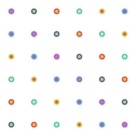 Seamless pattern of bright small circles on white background. Vector illustration geometric shapes. Vettoriali