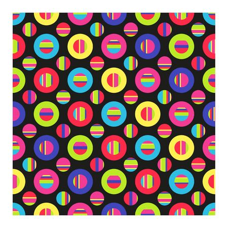 Seamless pattern of multicolored striped circles. Vector illustration geometric shapes on black background.