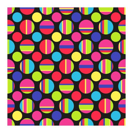 Seamless pattern of bright big and small circles and stripes. Vector illustration geometric shapes on black background.