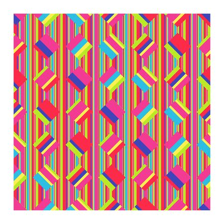 Seamless pattern of bright strips and squares. Vector illustration geometric shapes on striped background.