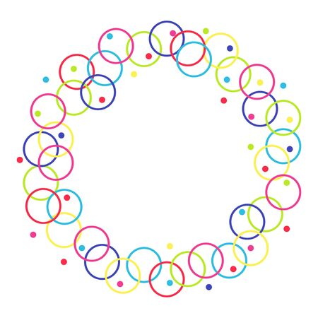 Vector frame from circles and rings. Isolated on white background. Free for text.