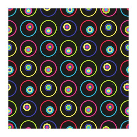 Seamless Vector pattern from multicolored circles and rings. Bright circles on black background.