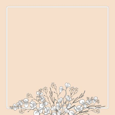A bouquet of branches with leaves with a frame. Example of a congratulatory form. Hand black and white vector illustration.