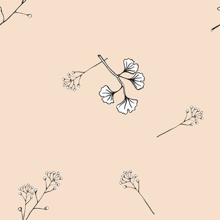 Delicate branches with leaves. Handmade black and white pattern on a vintage pink background. Seamless vector pattern. Ilustracja