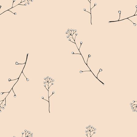 Seamless vector pattern. Delicate branches with leaves. Handmade black and white pattern on a vintage pink background. Ilustracja