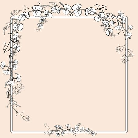 A bouquet of branches with leaves with a frame. Example of a congratulatory form. Hand drawing black and white vector illustration.