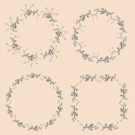 A set of four vintage openwork wreaths. Black and white vector hand drawing branches with leaves.
