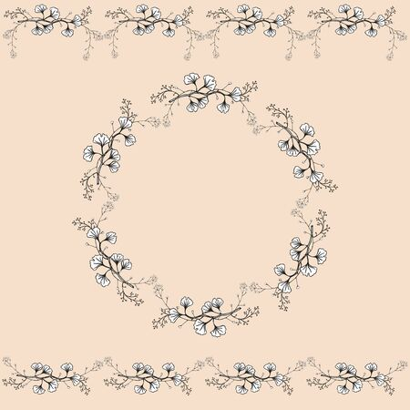 Set of two seamless horizontal ornaments and vintage openwork wreath.Openwork black and white handmade vector isolated drawing.
