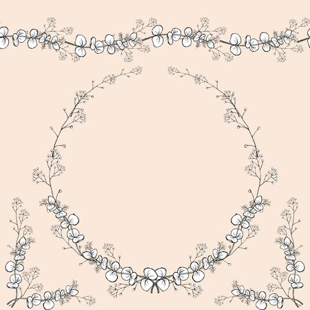 Set of seamless horizontal ornament, vintage openwork wreath at the corner decors. Openwork black and white handmade vector isolated drawing.