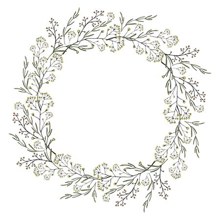 Vintage hand drawn wreath of thin twigs, leaves. Vector isolated illustration on a white background. Ilustracja