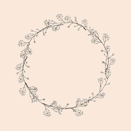 A wreath of branches with leaves. Openwork black and white river vector drawing. Isolated vintage illustration.