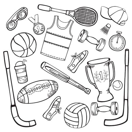 Sports equipment set of black and white vector illustrations in cartoon style isolated on white background.