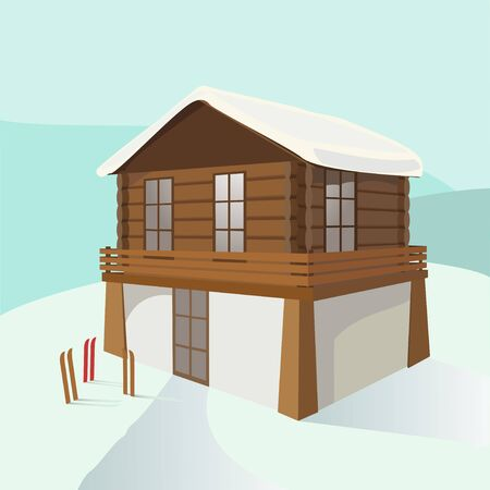 Vector illustration of a two-story house, three pairs of skis, snow slopes in the snow-capped mountains