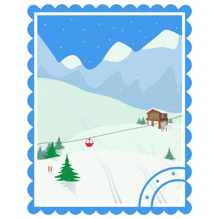 Ski holiday in the mountains. Color vector isolated illustration iIn the form of a postage stamp.