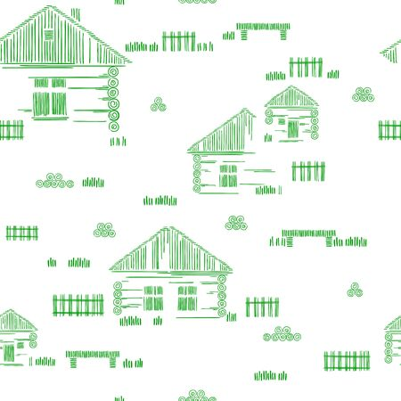 Wooden houses. Village Street. Stylized vector two-color hand drawing. Seamless pattern. The concept of ecological traditional construction. Ilustracja