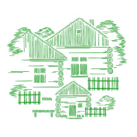 Vector decorative graphic composition with three wooden houses. The concept of ecological traditional construction.
