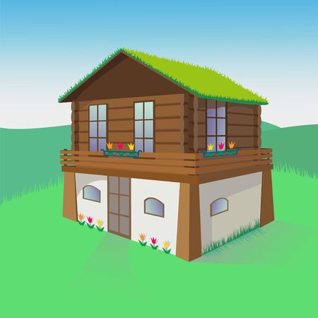 Vector color illustration of a two-story house with a green roof and flowers.