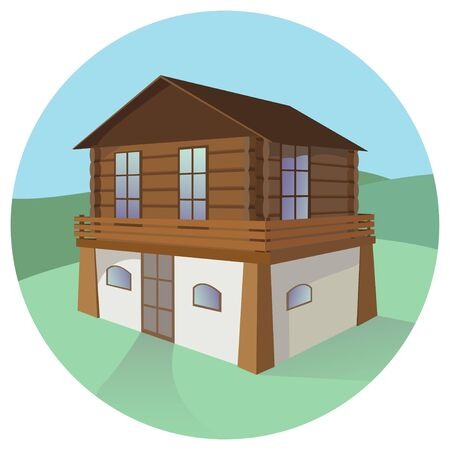 Vector color illustration of a detached two-story house.