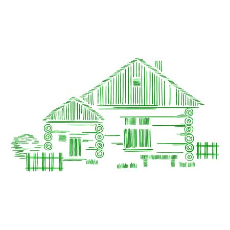 Vector decorative graphic composition with wooden houses. The concept of ecological traditional construction