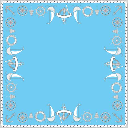 A framwork of elements of marine simbols. Pattern for a scarf.