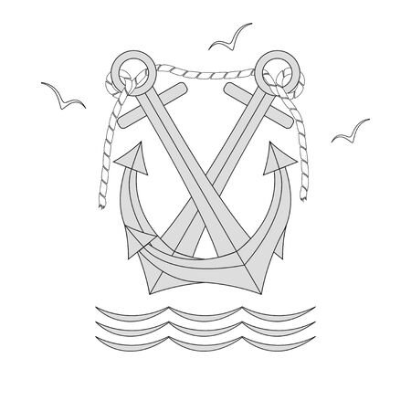 Rope-bound ship anchors, sea gulls, and waves. Vector icon isolated on white background.